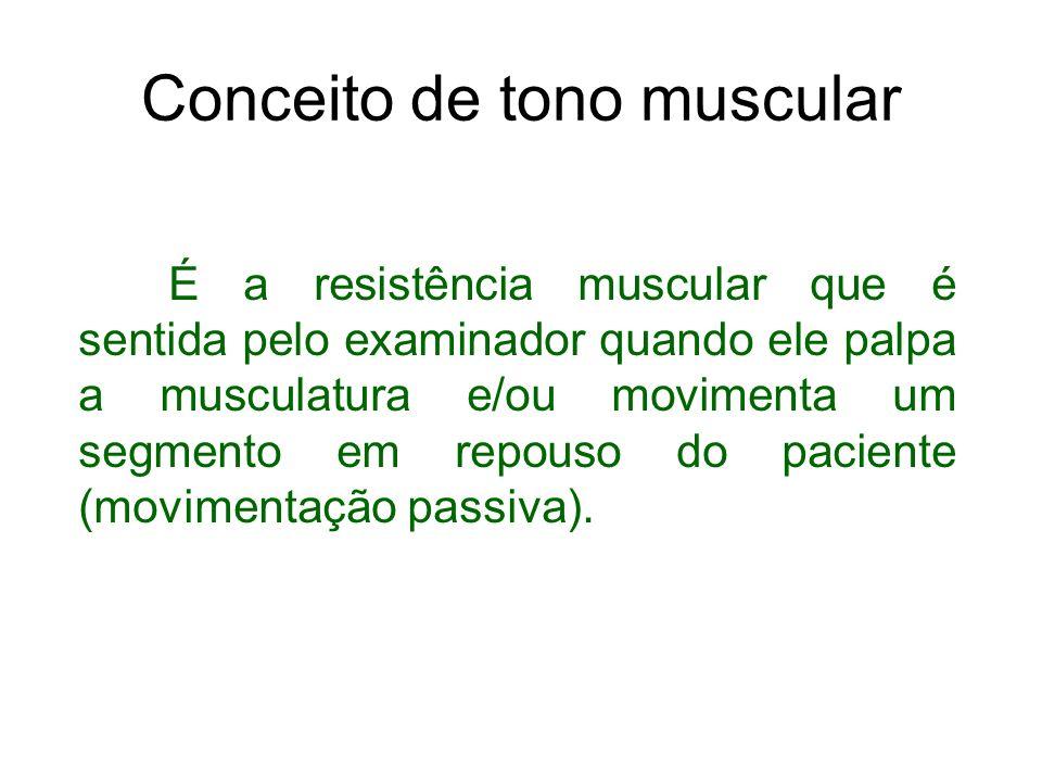 Conceito de tono muscular É a resistência muscular que é sentida pelo examinador quando ele palpa a musculatura e/ou movimenta um segmento em repouso