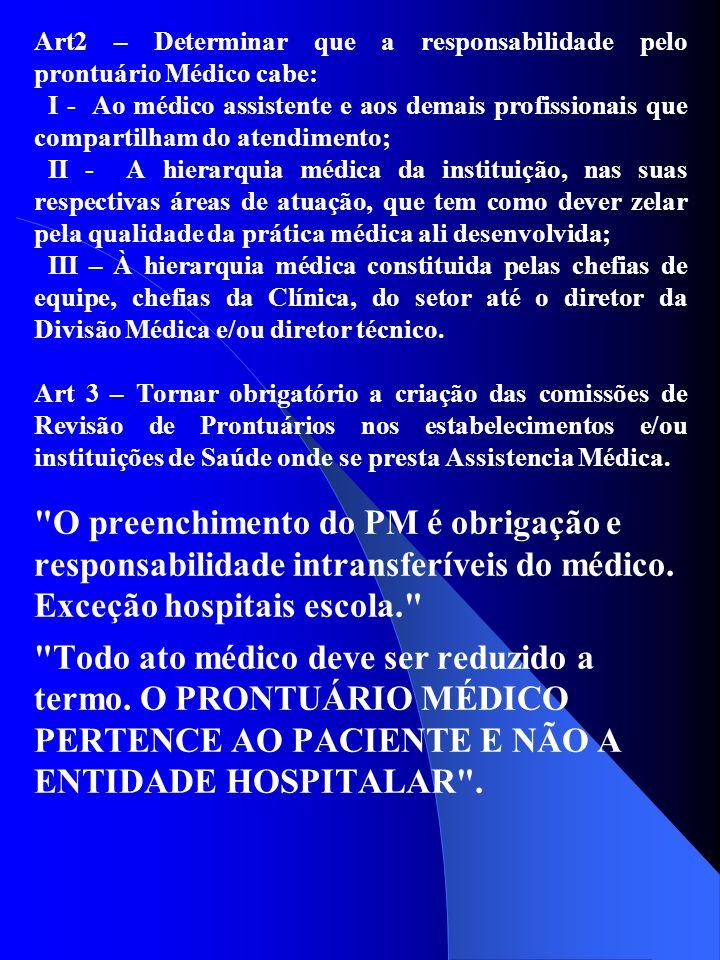 Art2 – Determinar que a responsabilidade pelo prontuário Médico cabe: I - Ao médico assistente e aos demais profissionais que compartilham do atendime