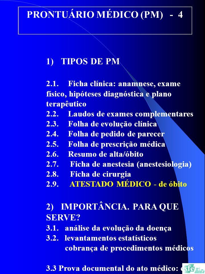 PRONTUÁRIO MÉDICO (PM) - 4 1) TIPOS DE PM 2.1. Ficha clínica: anamnese, exame físico, hipóteses diagnóstica e plano terapêutico 2.2. Laudos de exames