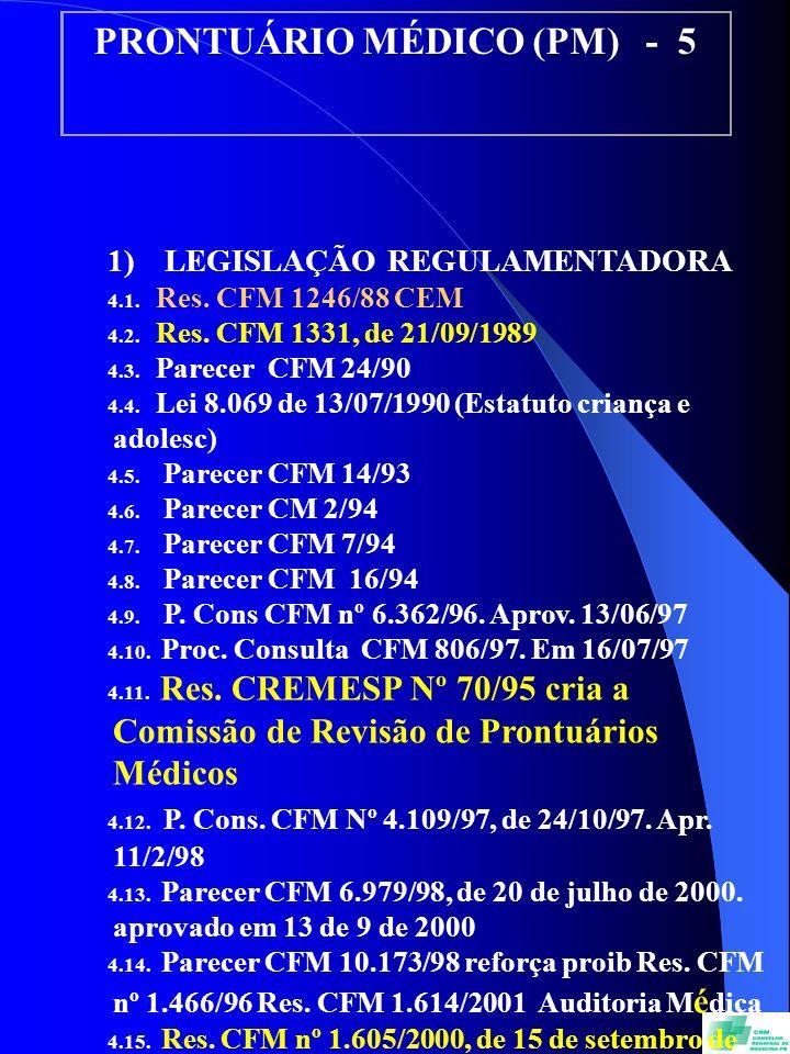 PRONTUÁRIO MÉDICO (PM) - 5 1) LEGISLAÇÃO REGULAMENTADORA 4.1. Res. CFM 1246/88 CEM 4.2. Res. CFM 1331, de 21/09/1989 4.3. Parecer CFM 24/90 4.4. Lei 8