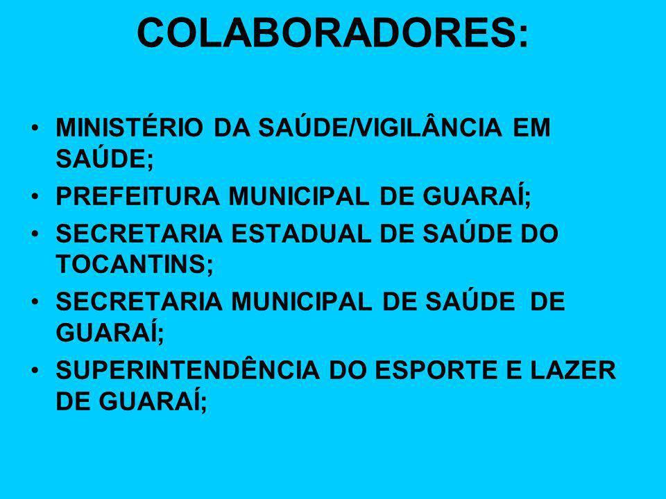 COLABORADORES: CONSELHO MUNICIPAL DE SAÚDE DE GUARAÍ; NASF – NÚCLEO DE APOIO A SAÚDE DA FAMÍLIA; ESCOLAS PROMOTORAS DE SAÚDE DE GUARAÍ; SECRETARIA MUNICIPAL DA EDUCAÇÃO DE GUARAÍ; SECRETARIA MUNICIPAL DA JUVENTUDE,TURISMO E CULTURA DE GUARAÍ;