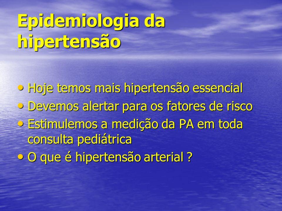 Causas de hipertensão na infância (6 a 10 anos) Doença renal parenquimatosa Doença renal parenquimatosa Estenose de artéria renal Estenose de artéria renal Essencial Essencial Endócrinas Endócrinas