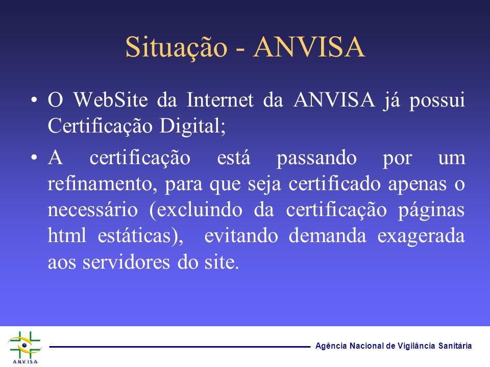 Agência Nacional de Vigilância Sanitária Situação - ANVISA O WebSite da Internet da ANVISA já possui Certificação Digital; A certificação está passand