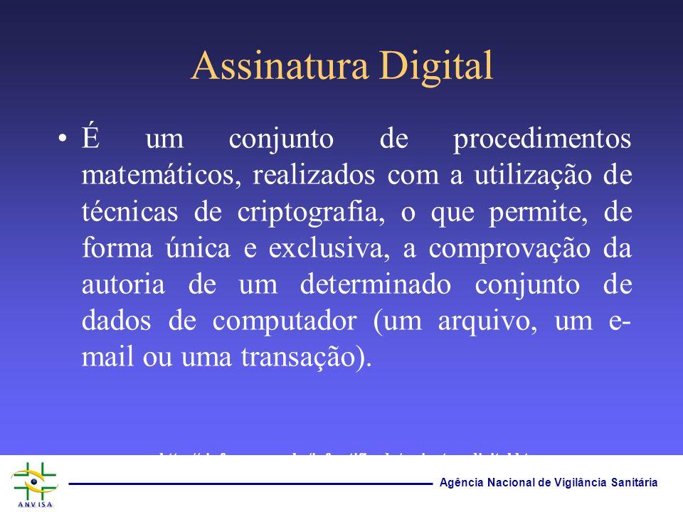 Agência Nacional de Vigilância Sanitária Assinatura Digital É um conjunto de procedimentos matemáticos, realizados com a utilização de técnicas de cri
