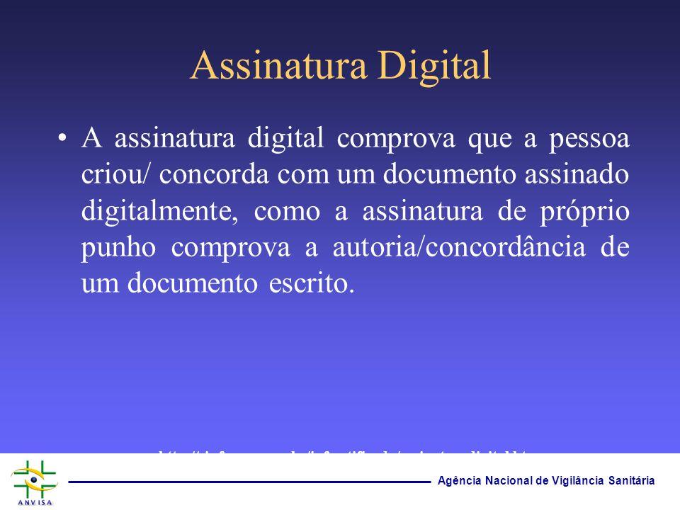 Agência Nacional de Vigilância Sanitária Assinatura Digital A assinatura digital comprova que a pessoa criou/ concorda com um documento assinado digit