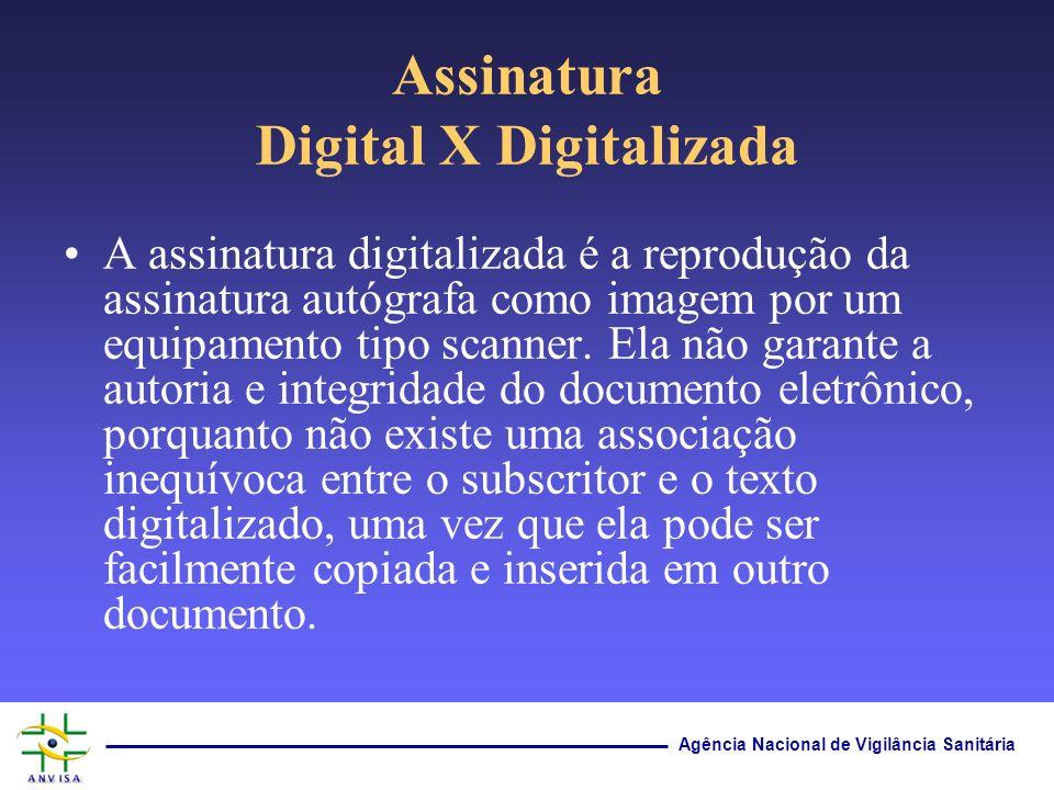 Agência Nacional de Vigilância Sanitária Assinatura Digital X Digitalizada A assinatura digitalizada é a reprodução da assinatura autógrafa como image