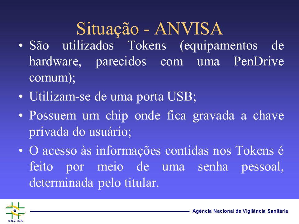 Agência Nacional de Vigilância Sanitária Situação - ANVISA São utilizados Tokens (equipamentos de hardware, parecidos com uma PenDrive comum); Utiliza