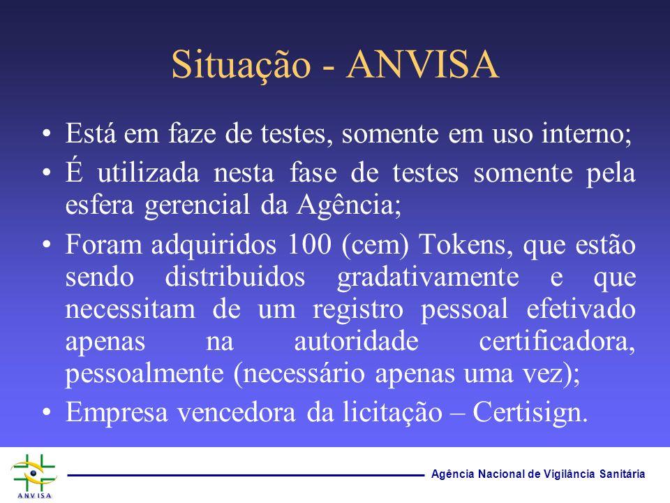 Agência Nacional de Vigilância Sanitária Situação - ANVISA Está em faze de testes, somente em uso interno; É utilizada nesta fase de testes somente pe