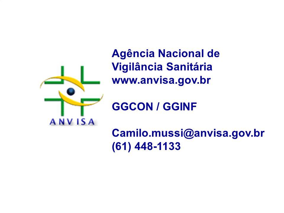 Agência Nacional de Vigilância Sanitária www.anvisa.gov.br GGCON / GGINF Camilo.mussi@anvisa.gov.br (61) 448-1133