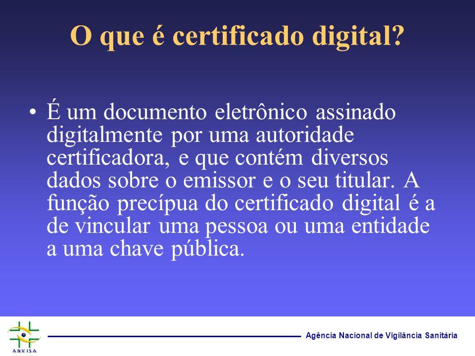 Agência Nacional de Vigilância Sanitária O que é certificado digital? É um documento eletrônico assinado digitalmente por uma autoridade certificadora