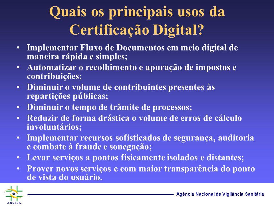 Agência Nacional de Vigilância Sanitária Quais os principais usos da Certificação Digital? Implementar Fluxo de Documentos em meio digital de maneira