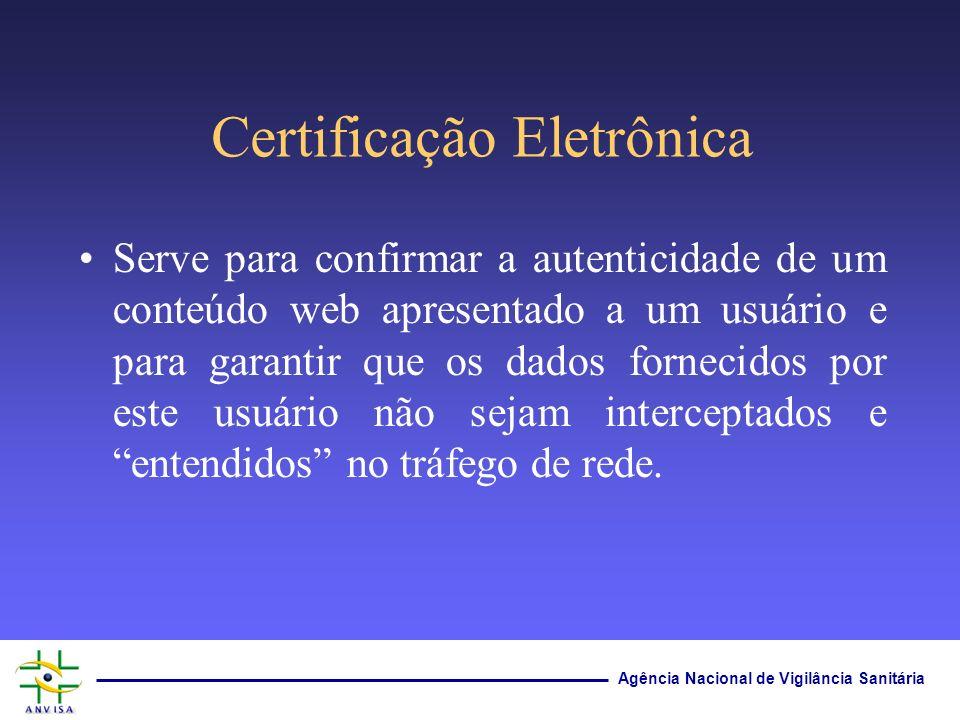 Agência Nacional de Vigilância Sanitária Serve para confirmar a autenticidade de um conteúdo web apresentado a um usuário e para garantir que os dados