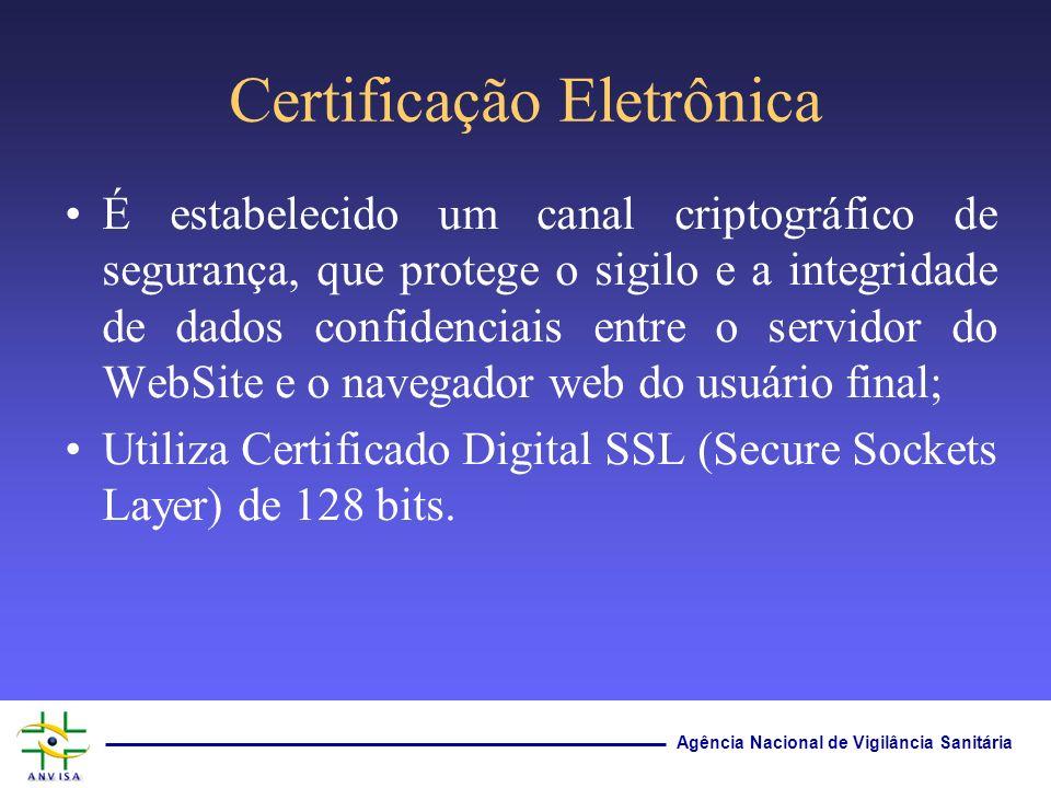 Agência Nacional de Vigilância Sanitária Certificação Eletrônica É estabelecido um canal criptográfico de segurança, que protege o sigilo e a integrid