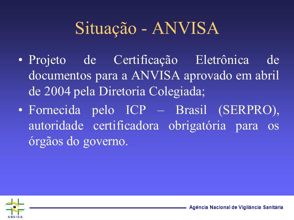 Agência Nacional de Vigilância Sanitária Situação - ANVISA Projeto de Certificação Eletrônica de documentos para a ANVISA aprovado em abril de 2004 pe