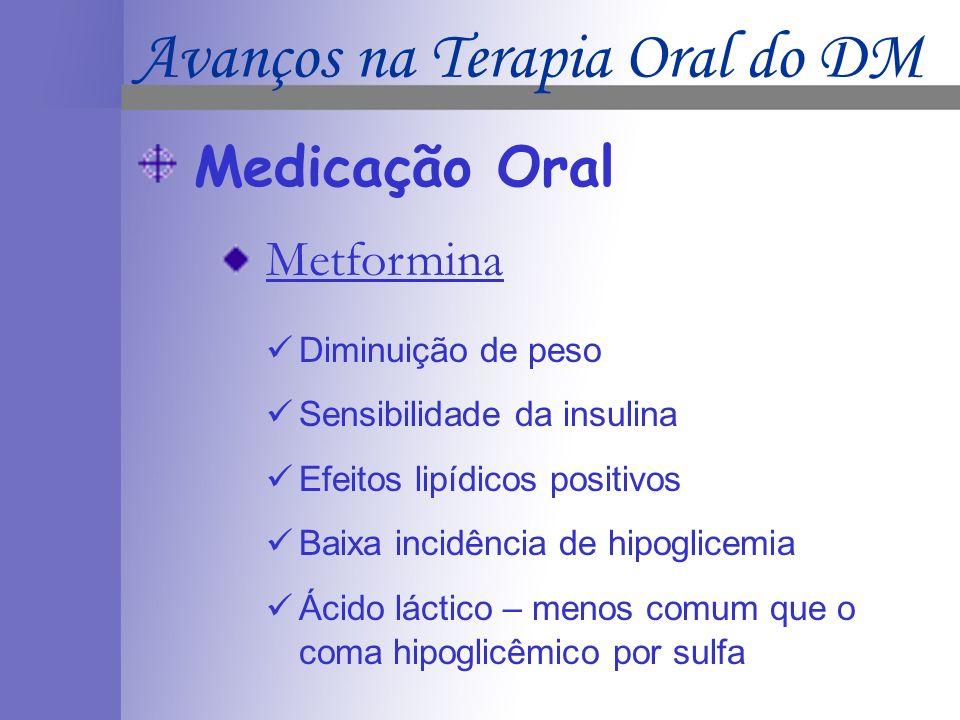 Medicação Oral Metformina Diminuição de peso Sensibilidade da insulina Efeitos lipídicos positivos Baixa incidência de hipoglicemia Ácido láctico – menos comum que o coma hipoglicêmico por sulfa Avanços na Terapia Oral do DM
