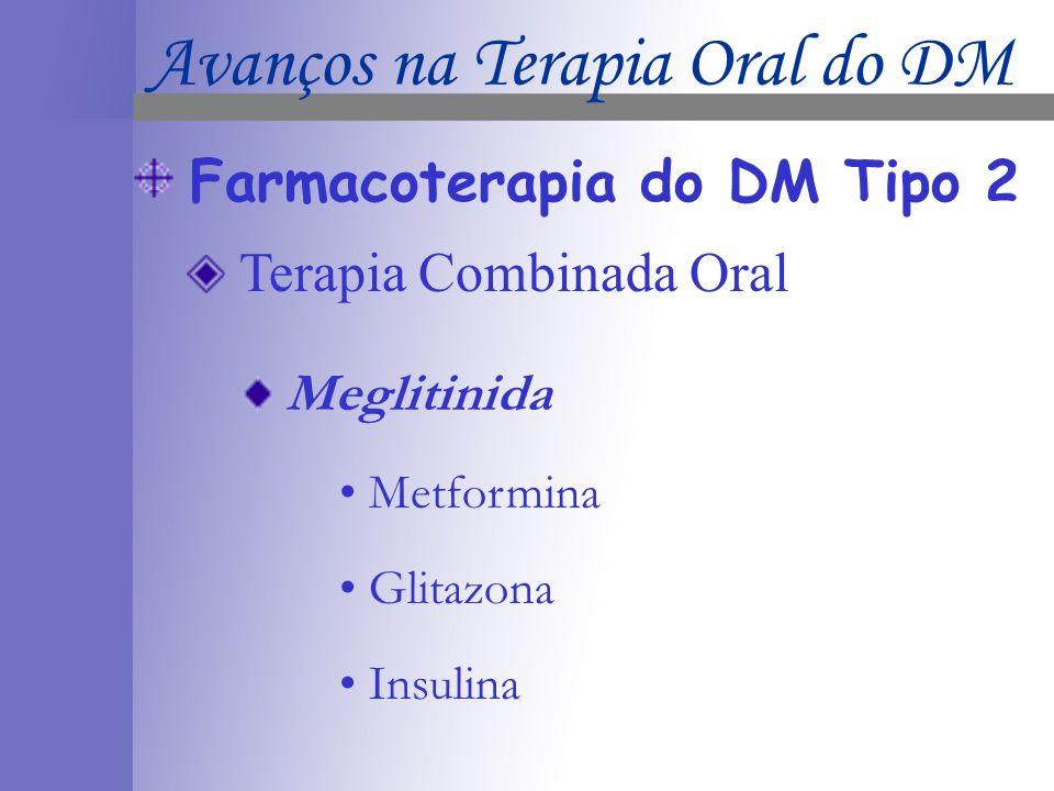 Farmacoterapia do DM Tipo 2 Terapia Combinada Oral Meglitinida Metformina Glitazona Insulina Avanços na Terapia Oral do DM