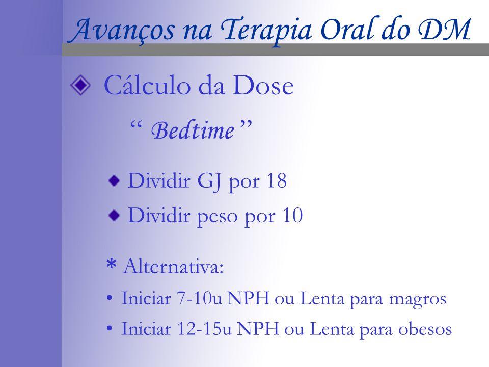 Cálculo da Dose Bedtime Dividir GJ por 18 Dividir peso por 10 * Alternativa: Iniciar 7-10u NPH ou Lenta para magros Iniciar 12-15u NPH ou Lenta para obesos Avanços na Terapia Oral do DM