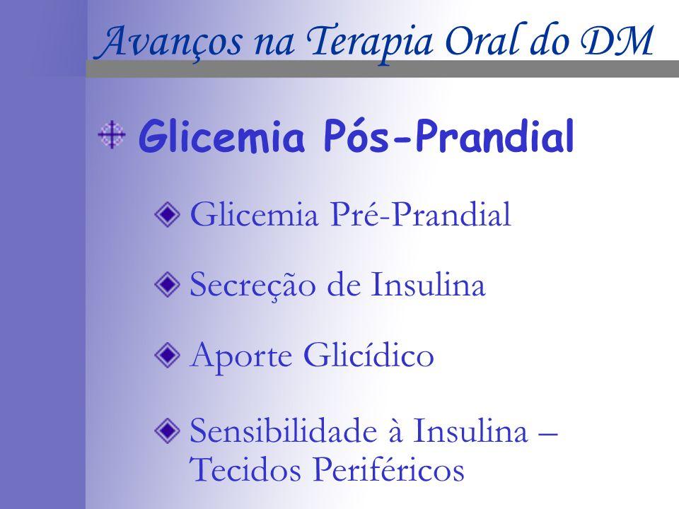 Glicemia Pós-Prandial Glicemia Pré-Prandial Secreção de Insulina Aporte Glicídico Sensibilidade à Insulina – Tecidos Periféricos Avanços na Terapia Oral do DM