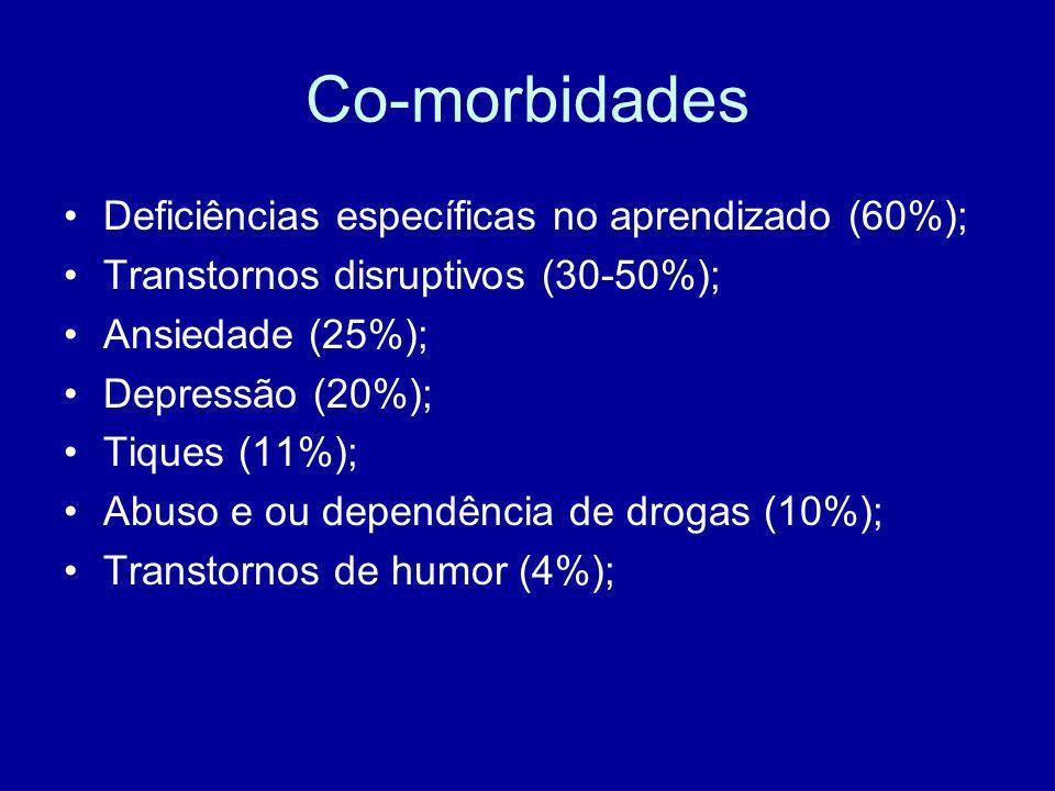 Co-morbidades Deficiências específicas no aprendizado (60%); Transtornos disruptivos (30-50%); Ansiedade (25%); Depressão (20%); Tiques (11%); Abuso e