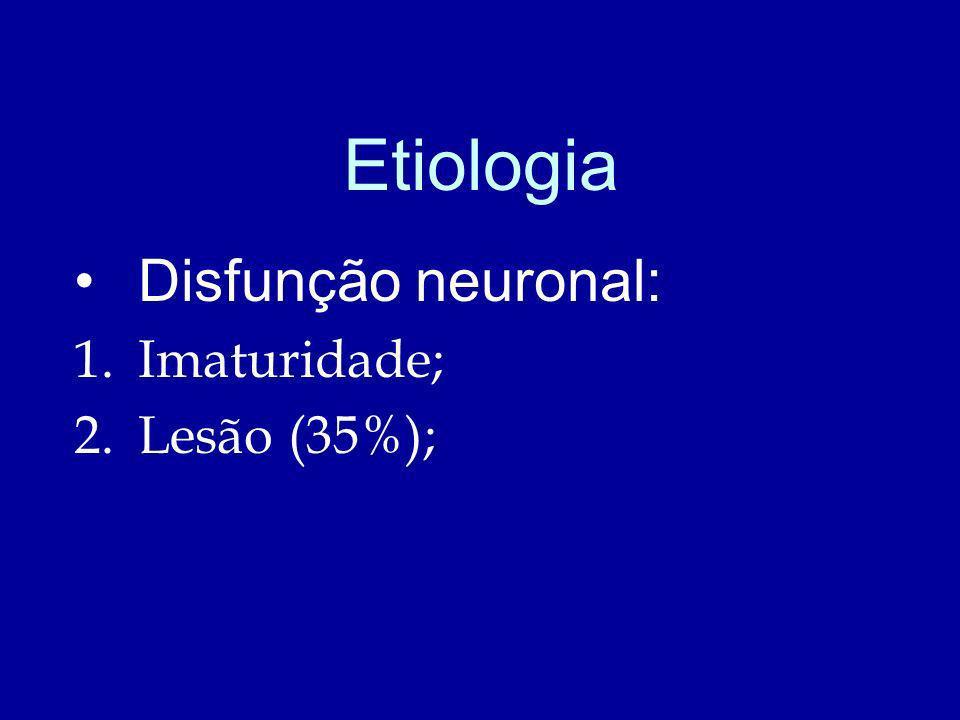 Etiologia Disfunção neuronal: 1.Imaturidade; 2.Lesão (35%);