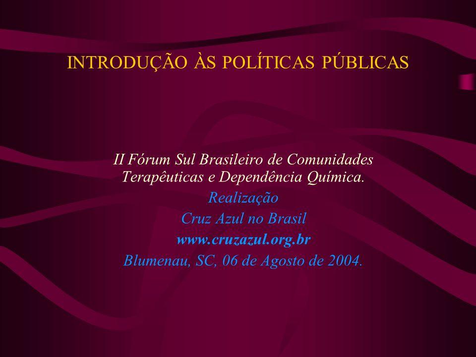 INTRODUÇÃO ÀS POLÍTICAS PÚBLICAS II Fórum Sul Brasileiro de Comunidades Terapêuticas e Dependência Química. Realização Cruz Azul no Brasil www.cruzazu