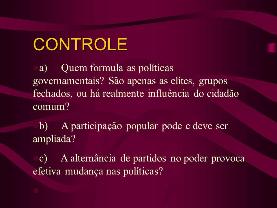 CONTROLE a) Quem formula as políticas governamentais? São apenas as elites, grupos fechados, ou há realmente influência do cidadão comum? b) A partici