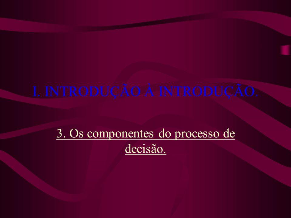 I. INTRODUÇÃO À INTRODUÇÃO. 3. Os componentes do processo de decisão.
