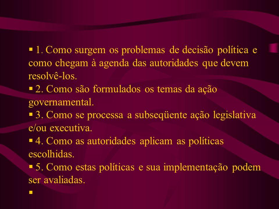 1. Como surgem os problemas de decisão política e como chegam à agenda das autoridades que devem resolvê-los. 2. Como são formulados os temas da ação