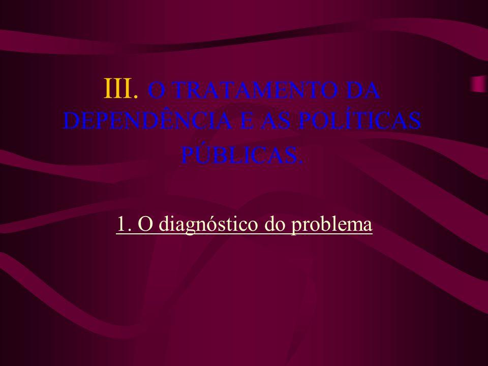 III. O TRATAMENTO DA DEPENDÊNCIA E AS POLÍTICAS PÚBLICAS. 1. O diagnóstico do problema
