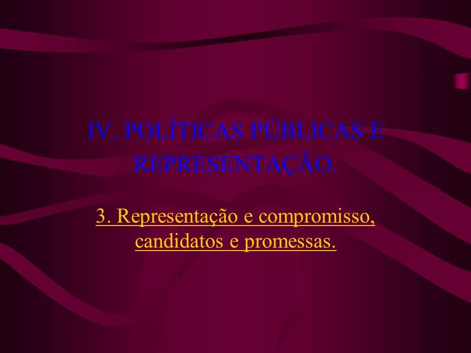 IV. POLÍTICAS PÚBLICAS E REPRESENTAÇÃO. 3. Representação e compromisso, candidatos e promessas.