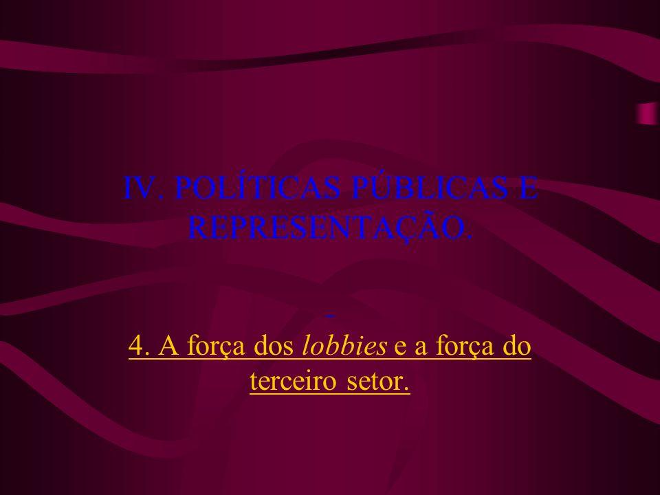IV. POLÍTICAS PÚBLICAS E REPRESENTAÇÃO. 4. A força dos lobbies e a força do terceiro setor.