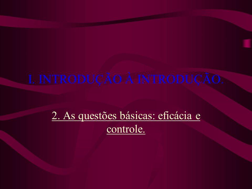 I. INTRODUÇÃO À INTRODUÇÃO. 2. As questões básicas: eficácia e controle.