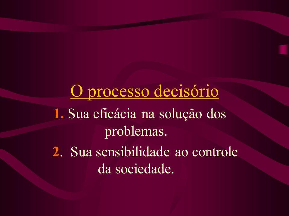 O processo decisório 1. Sua eficácia na solução dos problemas. 2. Sua sensibilidade ao controle da sociedade.