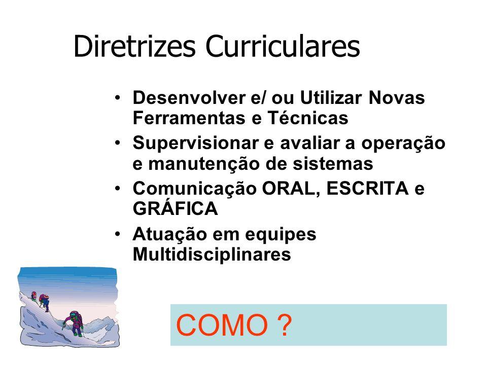 Diretrizes Curriculares Desenvolver e/ ou Utilizar Novas Ferramentas e Técnicas Supervisionar e avaliar a operação e manutenção de sistemas Comunicaçã