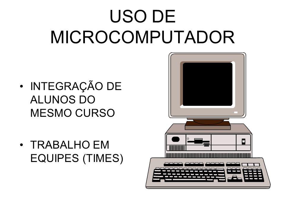 USO DE MICROCOMPUTADOR INTEGRAÇÃO DE ALUNOS DO MESMO CURSO TRABALHO EM EQUIPES (TIMES)