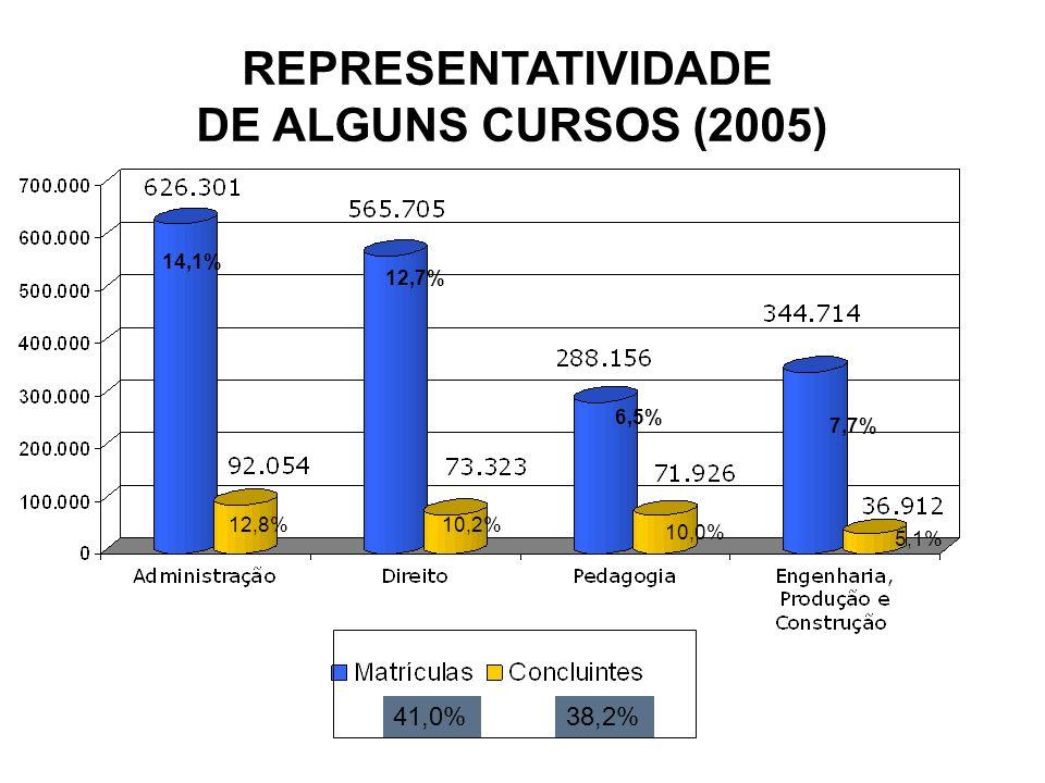 REPRESENTATIVIDADE DE ALGUNS CURSOS (2005) 14,1% 12,7% 6,5% 7,7% 41,0%38,2% 12,8%10,2% 10,0% 5,1%