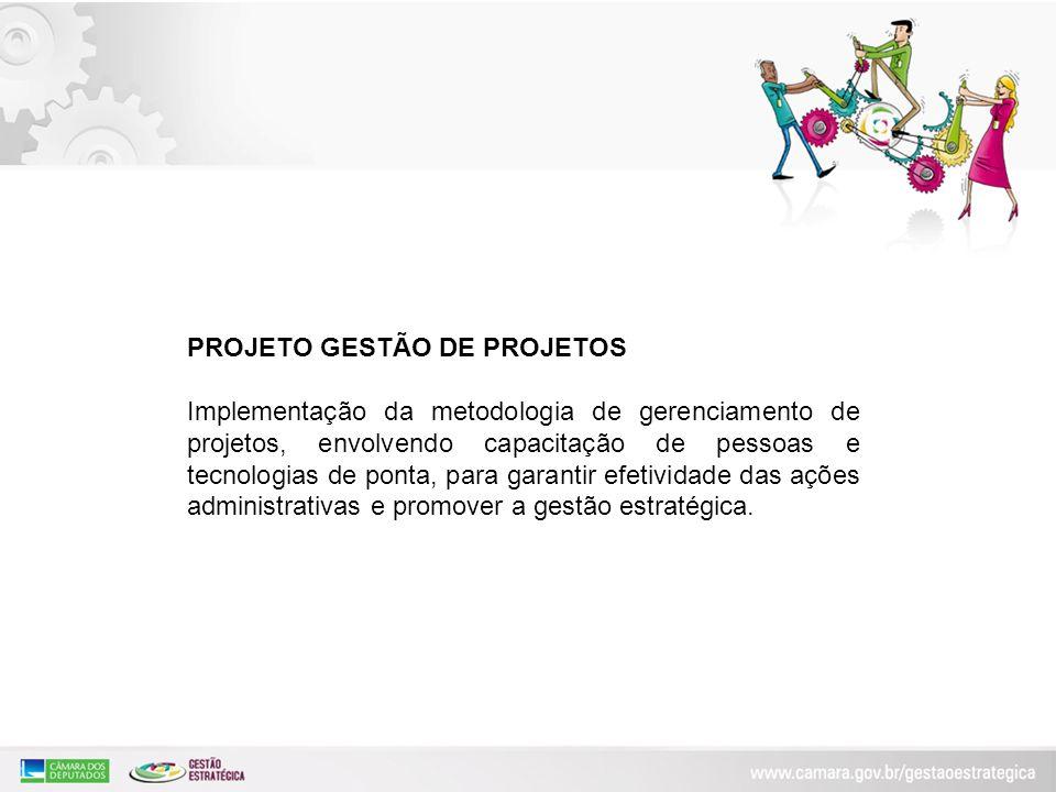 PROJETO GESTÃO DE PROJETOS Implementação da metodologia de gerenciamento de projetos, envolvendo capacitação de pessoas e tecnologias de ponta, para g