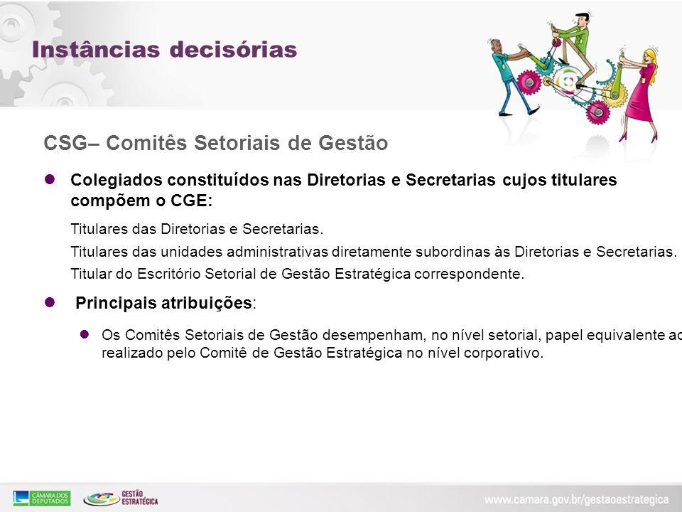 CSG– Comitês Setoriais de Gestão Colegiados constituídos nas Diretorias e Secretarias cujos titulares compõem o CGE: Colegiados constituídos nas Diret