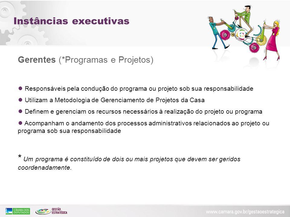 Instâncias executivas Gerentes (*Programas e Projetos) Responsáveis pela condução do programa ou projeto sob sua responsabilidade Utilizam a Metodolog