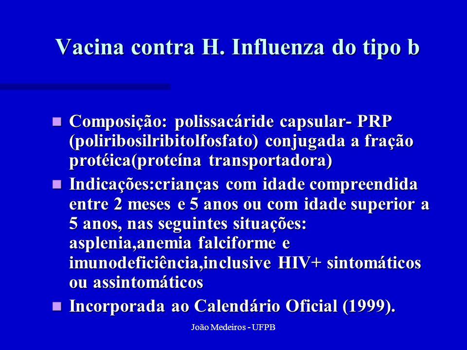 João Medeiros - UFPB Vacina contra H. Influenza do tipo b Composição: polissacáride capsular- PRP (poliribosilribitolfosfato) conjugada a fração proté
