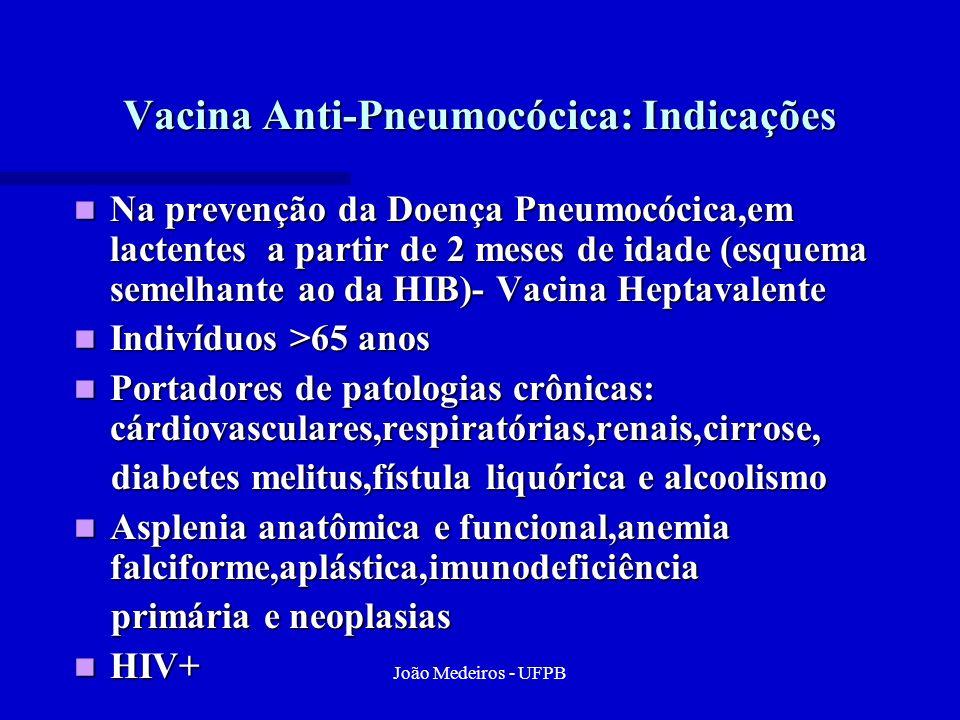 João Medeiros - UFPB Vacina Anti-Pneumocócica: Indicações Na prevenção da Doença Pneumocócica,em lactentes a partir de 2 meses de idade (esquema semel