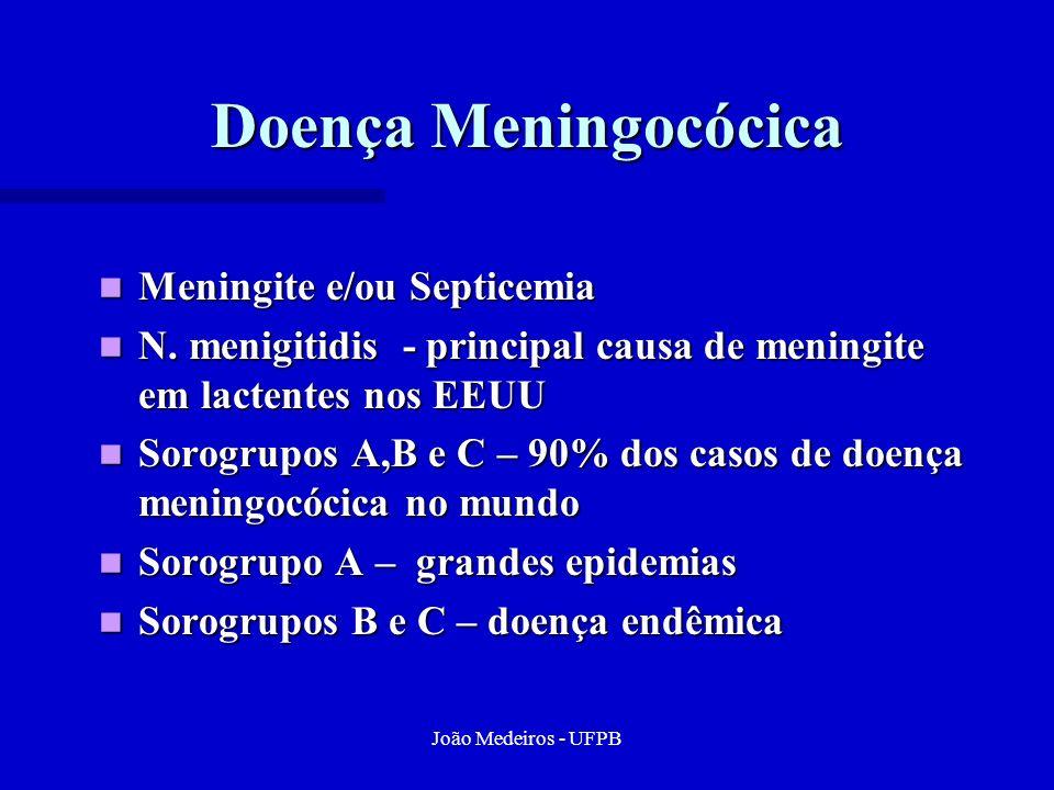 João Medeiros - UFPB Doença Meningocócica Meningite e/ou Septicemia Meningite e/ou Septicemia N. menigitidis - principal causa de meningite em lactent