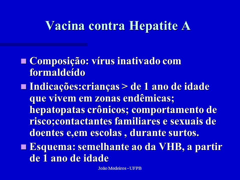 João Medeiros - UFPB Vacina contra Hepatite A Composição: vírus inativado com formaldeído Composição: vírus inativado com formaldeído Indicações:crian