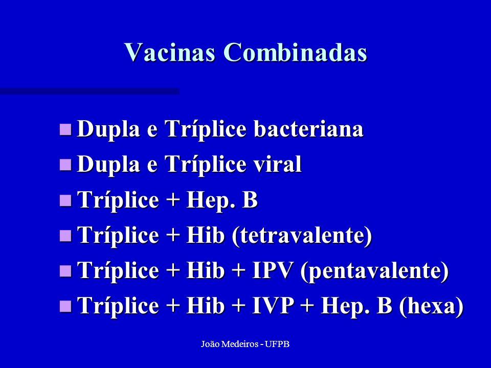 João Medeiros - UFPB Vacinas Combinadas Dupla e Tríplice bacteriana Dupla e Tríplice bacteriana Dupla e Tríplice viral Dupla e Tríplice viral Tríplice