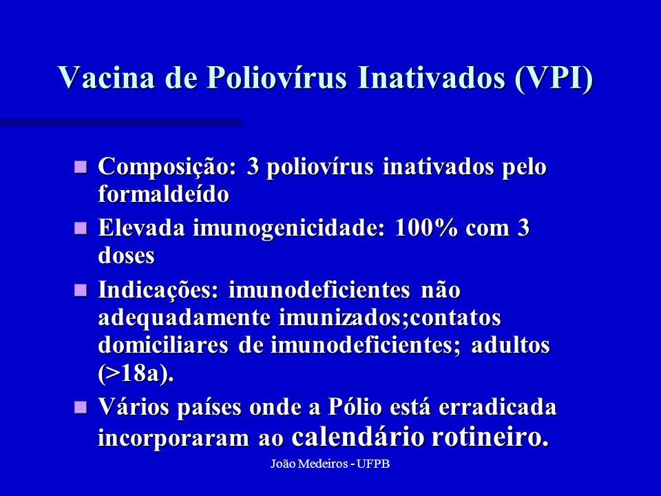 João Medeiros - UFPB Vacina de Poliovírus Inativados (VPI) Composição: 3 poliovírus inativados pelo formaldeído Composição: 3 poliovírus inativados pe