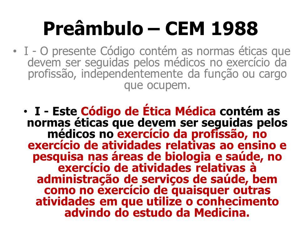 Preâmbulo – CEM 1988 I - O presente Código contém as normas éticas que devem ser seguidas pelos médicos no exercício da profissão, independentemente d