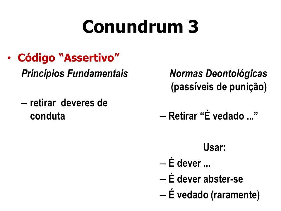 Conundrum 3 Código Assertivo Princípios Fundamentais – retirar deveres de conduta Normas Deontológicas (passíveis de punição) – Retirar É vedado... Us