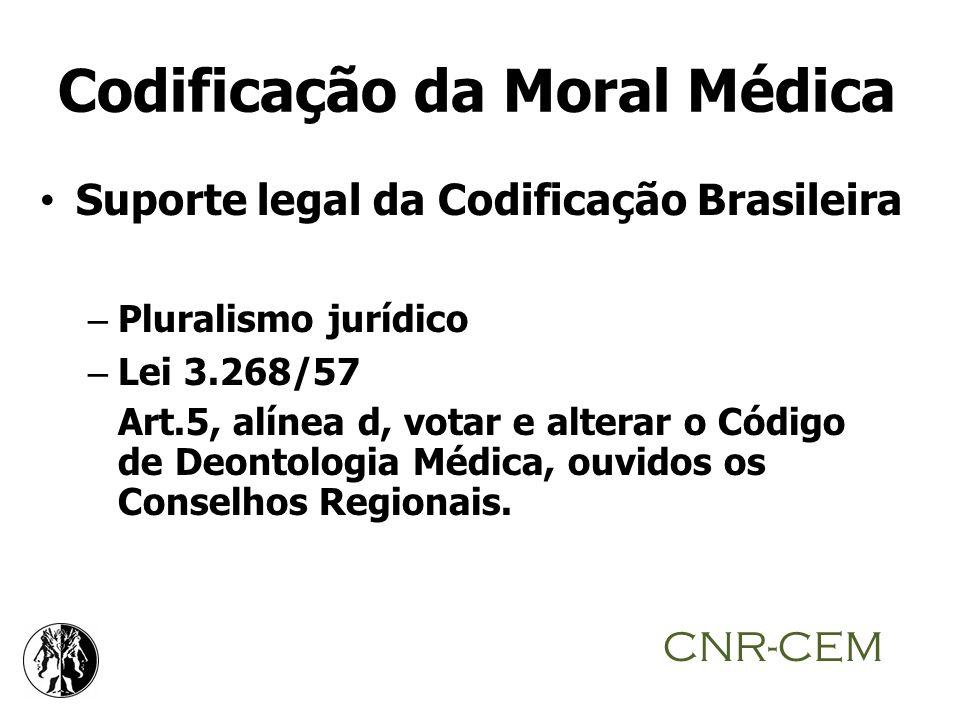 Codificação da Moral Médica Suporte legal da Codificação Brasileira – Pluralismo jurídico – Lei 3.268/57 Art.5, alínea d, votar e alterar o Código de