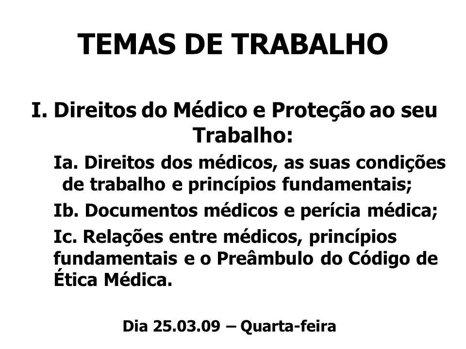 TEMAS DE TRABALHO I. Direitos do Médico e Proteção ao seu Trabalho: Ia. Direitos dos médicos, as suas condições de trabalho e princípios fundamentais;