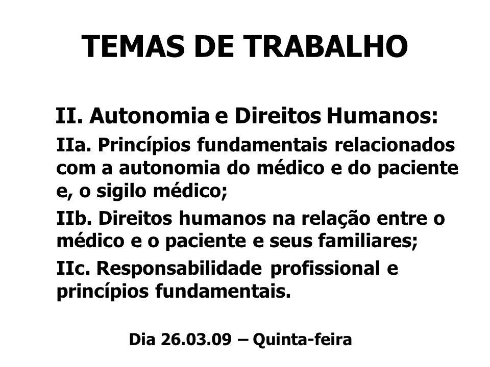TEMAS DE TRABALHO II. Autonomia e Direitos Humanos: IIa. Princípios fundamentais relacionados com a autonomia do médico e do paciente e, o sigilo médi